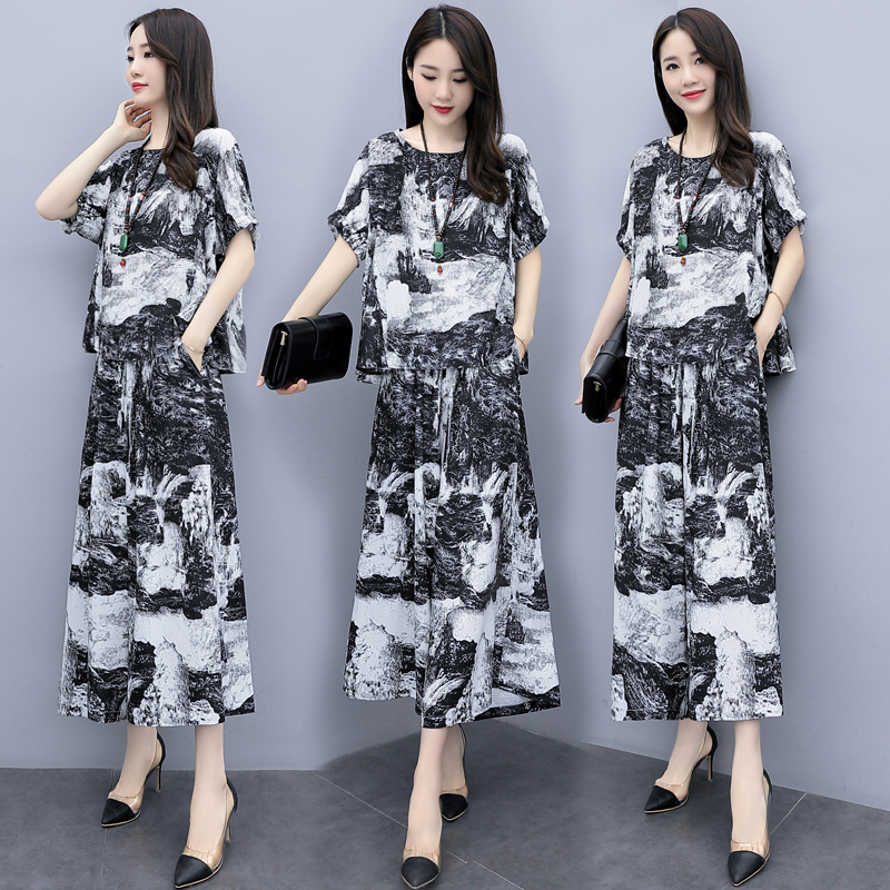 2019 Summer Vintage Printed Two Piece Sets Outfits Women Plus Size Linen Short Sleeve Tops And Cropped Wide Leg Pants Suits 54