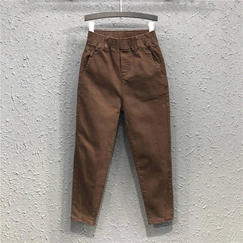 New Arrival Autumn Women  Elastic Waist Cotton Denim Loose Pants All-matched Casual Harem Pants Female Trousers Plus Size S278