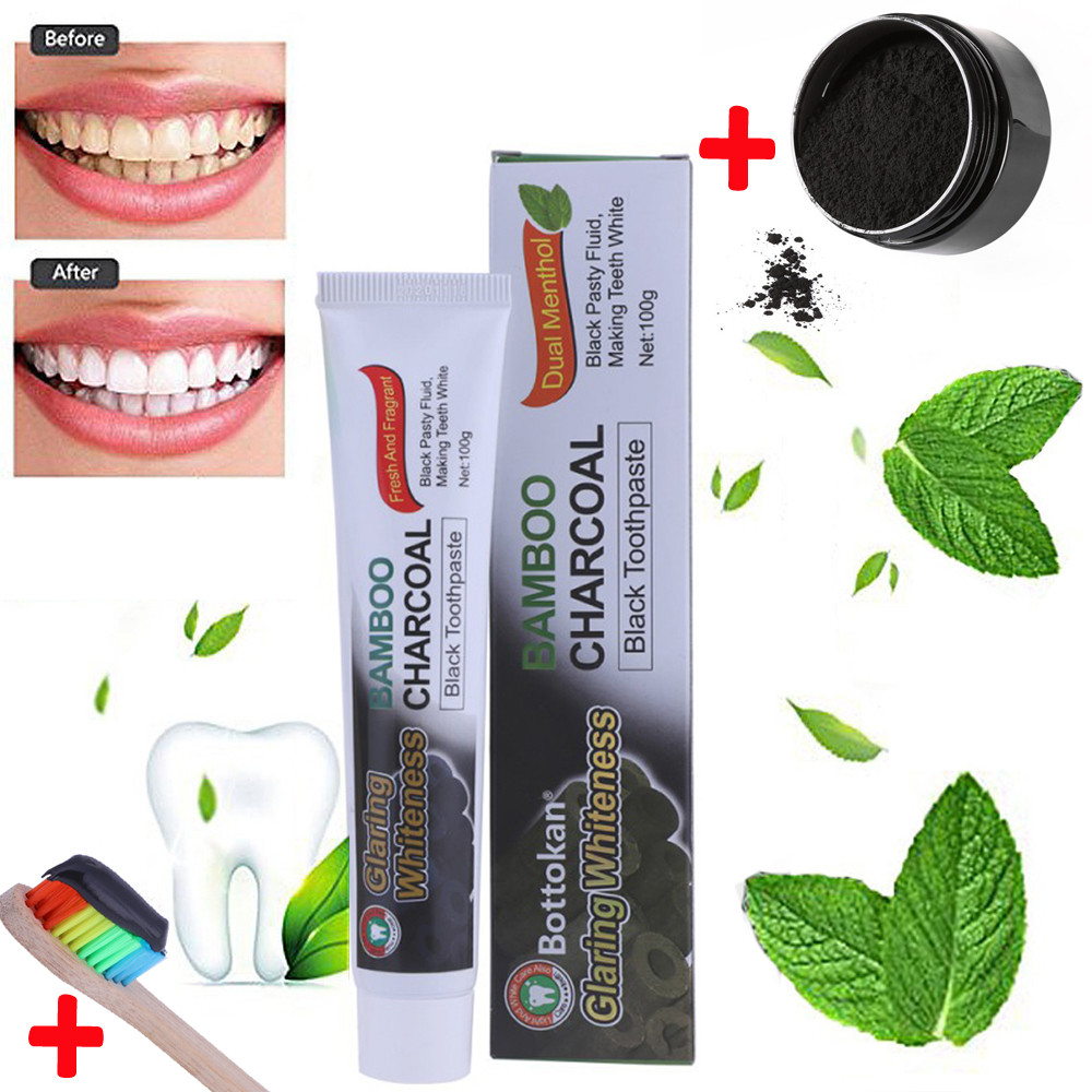 Teeth Whitening Powder Organic Activated Charcoal Bamboo Toothpaste +Brush For Oral Care Teeth Cleaning Eco Tooth Care Kit