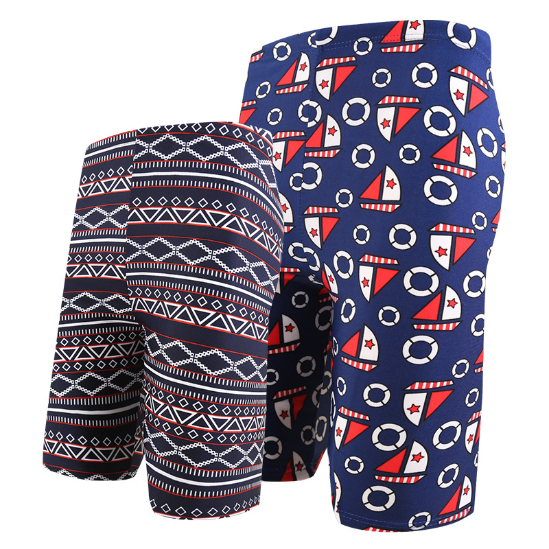 2019 New Style Swimming Trunks Men's Large Size Loose-Fit Comfortable Lace-up Printed Korean-style Beach Shorts Swimming Suit Yk