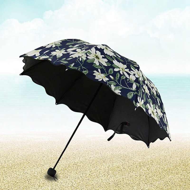 Ice Cream Pattern Automatic Tri-fold Umbrella Folding Rain Umbrell Sunshade