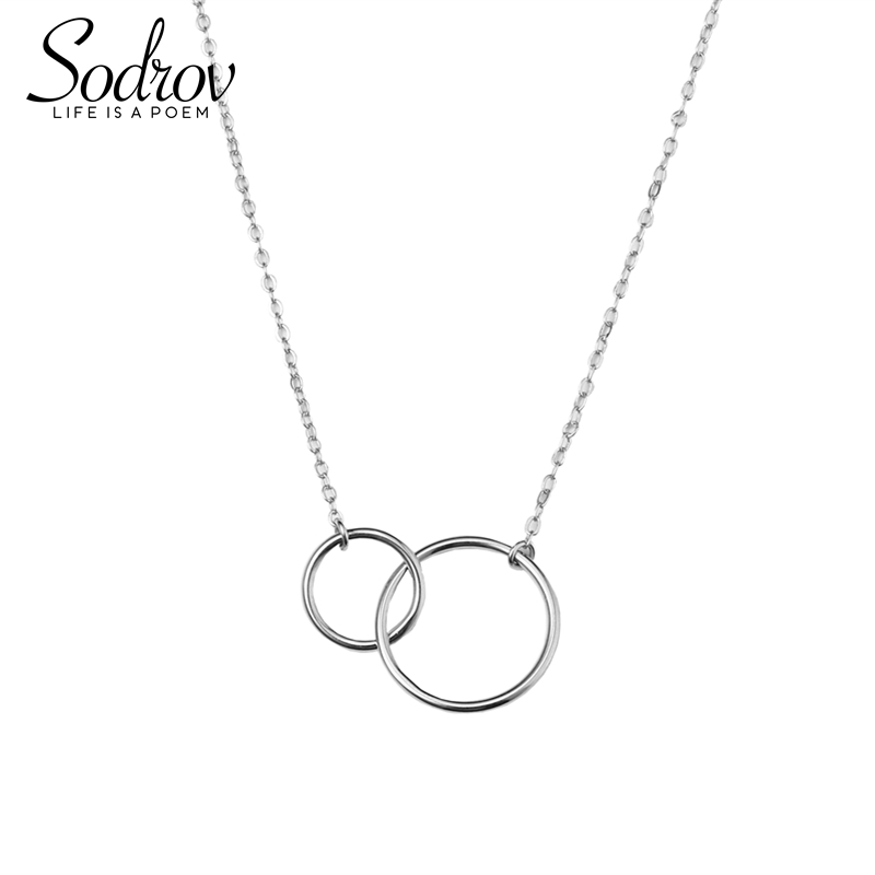 925 sterling silver necklace ladies elegant chain necklace fashion circle sterling silver jewelry round r necklace
