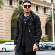 Men Street Wind Business Windbreaker Male Jacket Spring and Autumn Coat Loose Casual Long Hooded XL-6XL