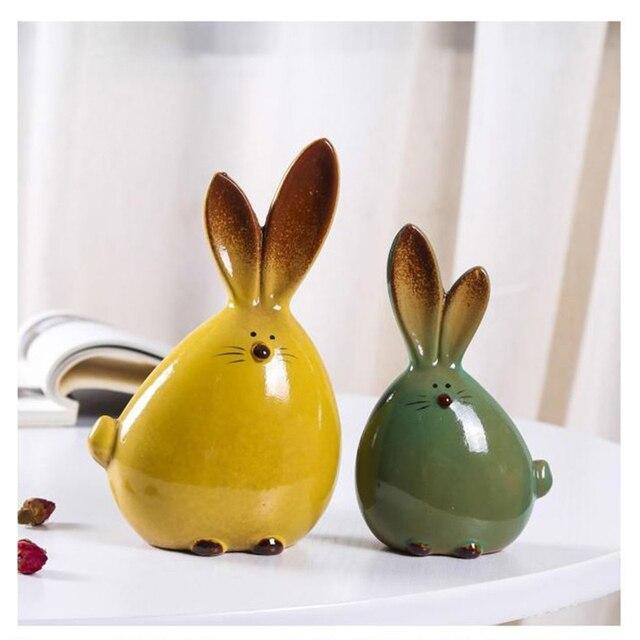 2PC Combination Nordic Style Cute Long Ear Rabbit Ceramic Decoration Cartoon Animals Figurines Ornaments Unique Home Decoration 6