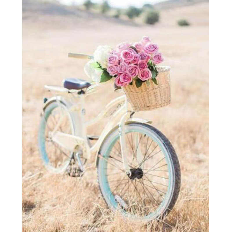 Diament malarstwo rower i kosz na kwiaty 5D pełne kwadratowych mozaiki diament obraz wzór Rhinestone diament hafty wystrój