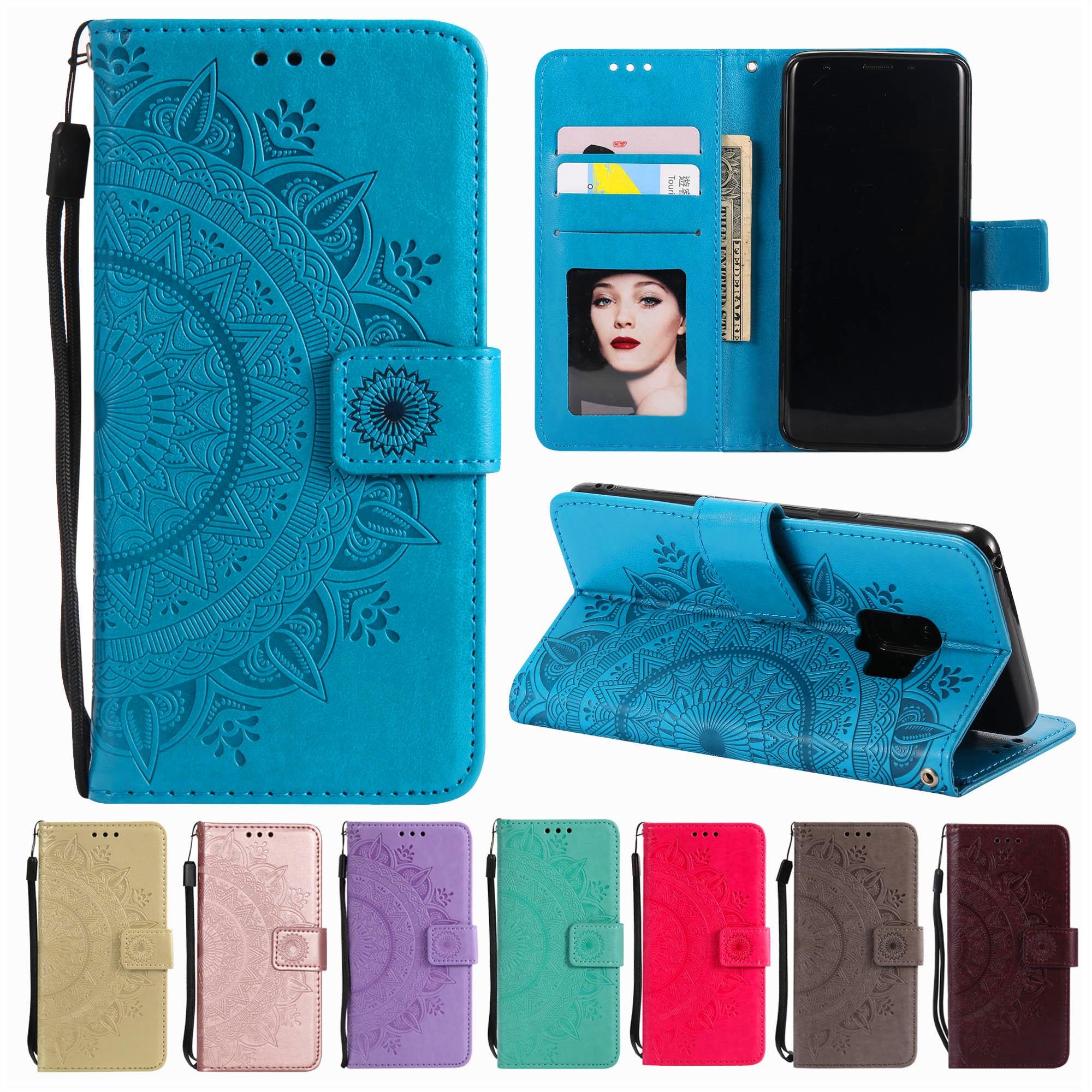 Кожаный флип чехол с изображением цветов мандалы для Huawei P8 P9 Lite 2017 P10 P20 Lite 2019 P30 P40 Pro P Smart 2020 чехол кошелек с отделениями для карт|Чехлы-портмоне|   | АлиЭкспресс