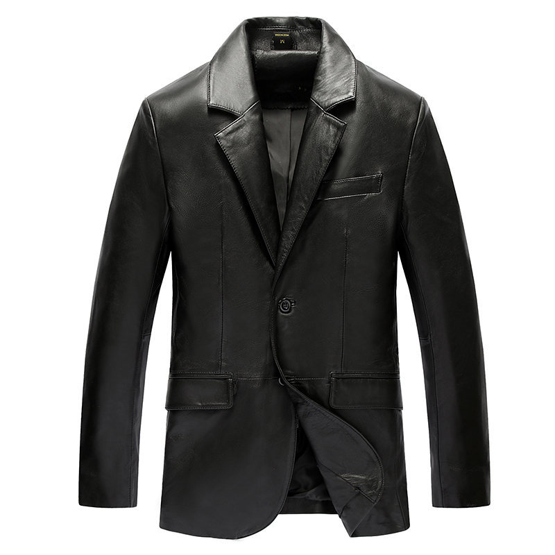 Genuine Leather Jacket Men Real Sheepskin Leather Coat Spring Autumn Plus Size 5XL Quality Homens Blazer 19-829 MF608