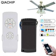 QIACHIP AC 110V 220V WIFI ventilador de techo inteligente aplicación remota temporizador y Control de velocidad luz de hogar con Amazon Alexa y Google Home