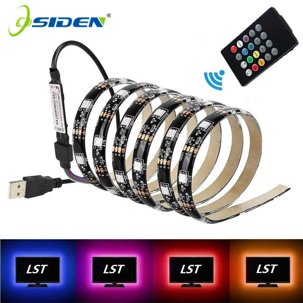 LED Strip 5050 RGB Changeable 60LED TV Background Lighting USB DC5V 1M 2M 3M 5M DIY Flexible Car LED Light.Music Mini Controller