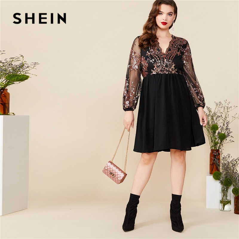 SHEIN Plus Size Black V Neck Floral Contrast Sequin Mesh Sleeve Flare Dress Women Summer Autumn Glamorous Party A Line Dresses