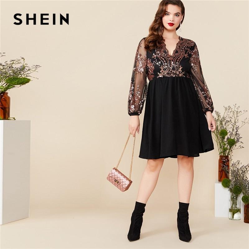 SHEIN grande taille noir col en V contraste Floral Sequin maille manches Flare robe femmes été automne glamour fête une ligne robes