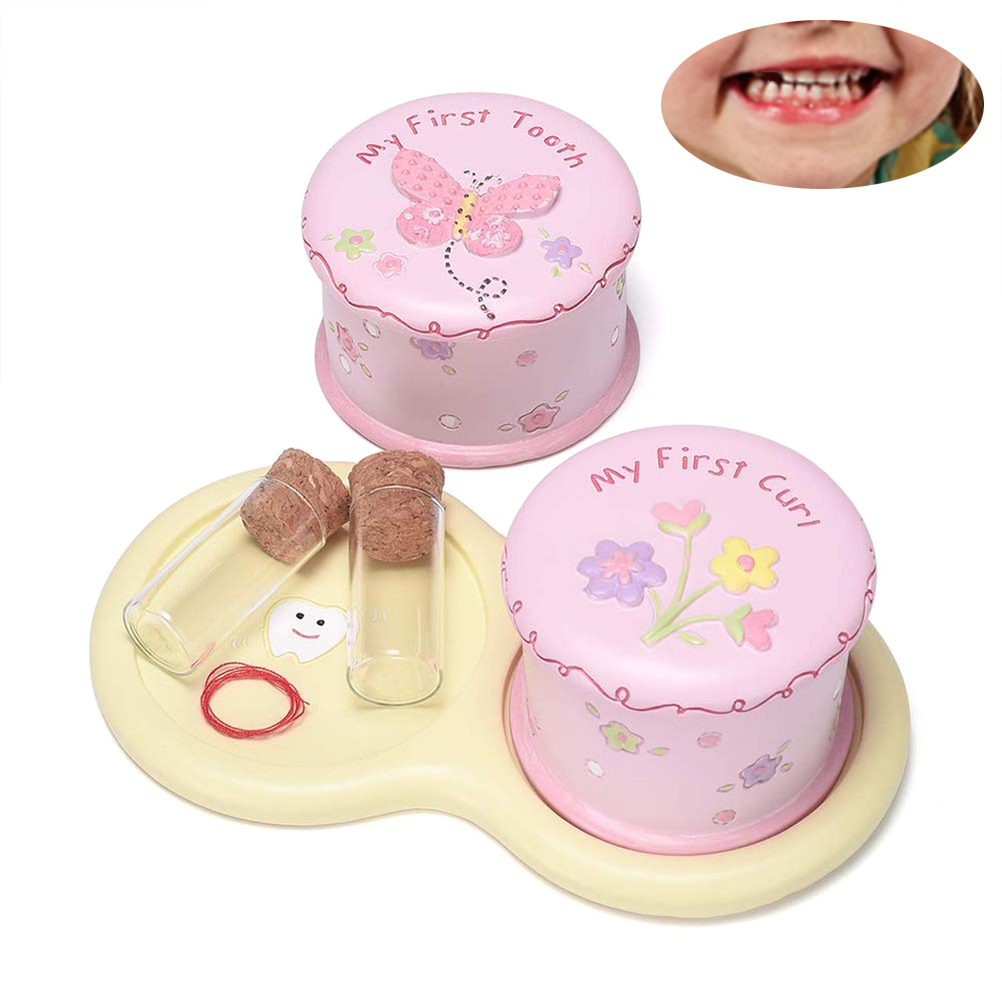Cute Child Tooth Box Baby First Tooth And Curl Keepsake Boxes Kids Teeth Fairy Holder Storage Box Beft For Child Tooth Organizer