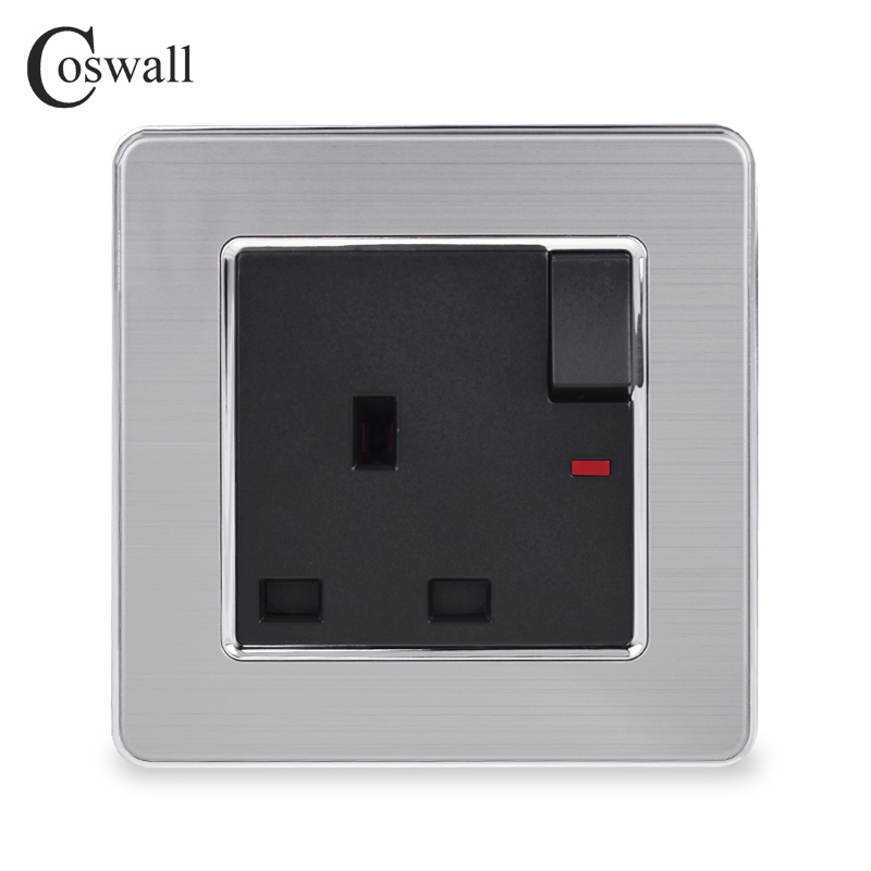 COSWALL Stainless Steel Panel 13A UK Standard Switched Socket With Neon Wall Outlet Grounded With Children Protective Door