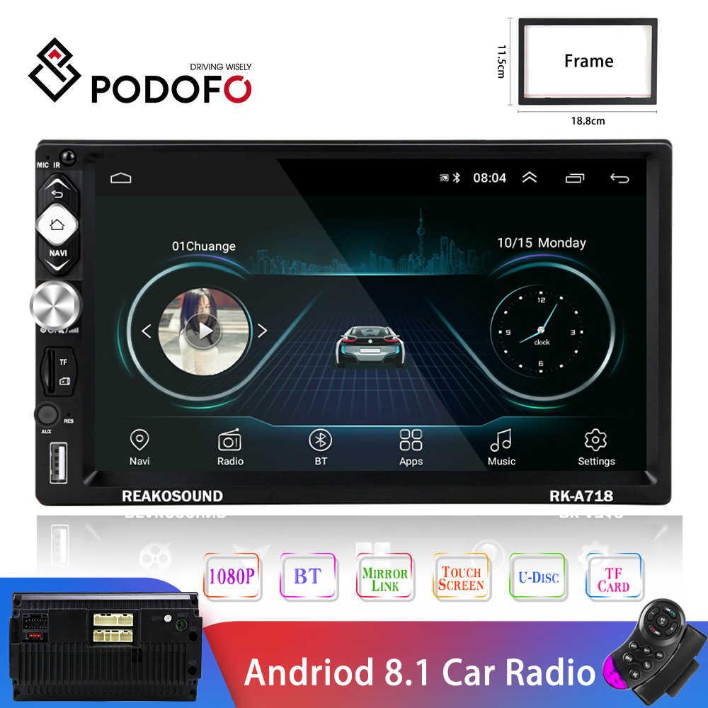 Podofo 2din android 8.1 araba radyo multimedya oynatıcı GPS navigasyon Bluetooth ses Wifi USB FM MirrorLink 7''HD 2Din Autoradio