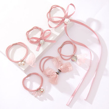6-Piece Lady Temperament Ribbon Bowknot Hair Ring Flower Rubber Band Head Ornament Kits Rope
