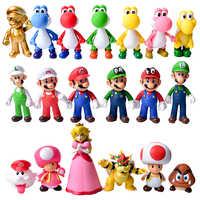 13cm figuras de Mario juguetes Mario Bros Bowser Lugi Koopa Yoshi, Mario Maker Odyssey PVC figura de acción muñecas modelo juguetes regalos