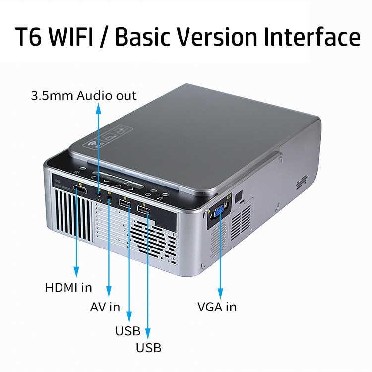 UNIC T6 LED 풀 HD 1080P 프로젝터 3500 루멘 홈 시어터 비머 안드로이드 와이파이 옵션 Proyector USB HDMI VGA 비디오 시네마