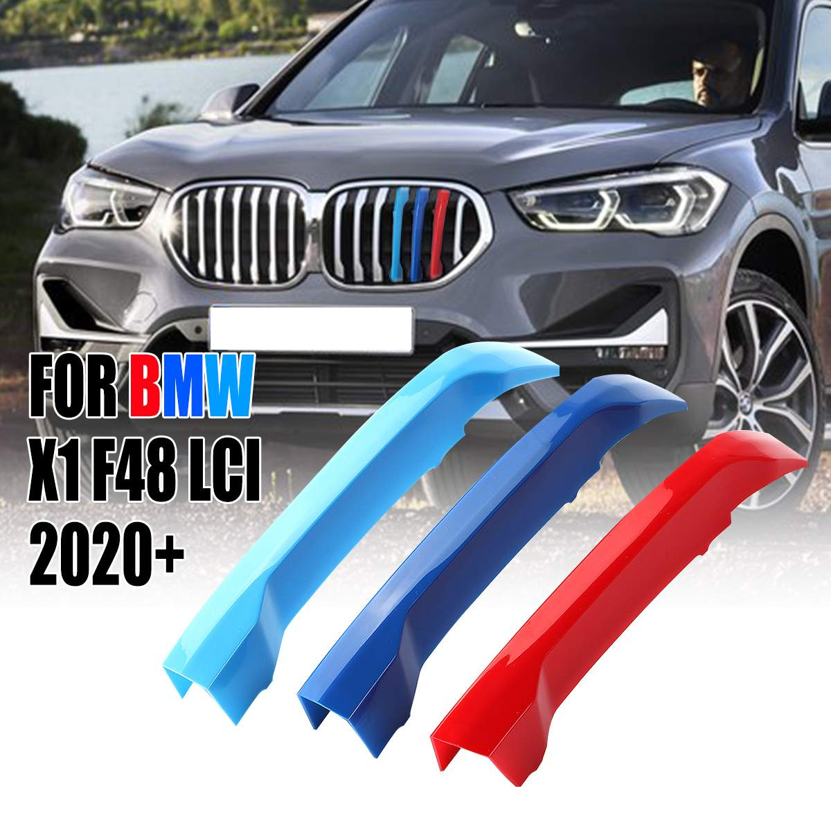 7 Bar Front Kidney Grill Grille Cover Clip Trim 3 Colors Trim Strips Grill Cover Decoration Stickers For BMW X1 F48 LCI 2020