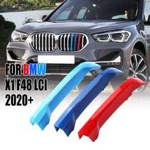 7 bar frente rim grill grille capa clipe guarnição 3 cores guarnição tiras grill capa decoração adesivos para bmw x1 f48 lci 2020 +