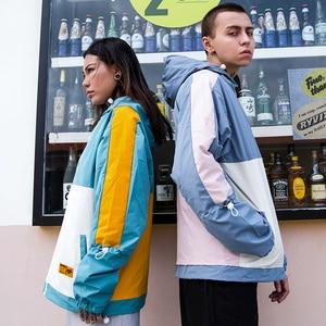 Image 5 - Männer Hip Hop Jacke Streetwear Retro Vintage Farbe Block Mit Kapuze Jacke Windjacke Harajuku 2020 Track Jacken Mantel Hoodie Herbst