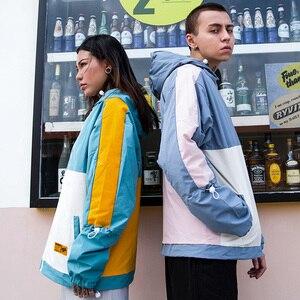 Image 5 - 남성 힙합 자켓 Streetwear 레트로 빈티지 컬러 블록 후드 자켓 윈드 브레이커 하라주쿠 2020 트랙 자켓 코트 까마귀 가을