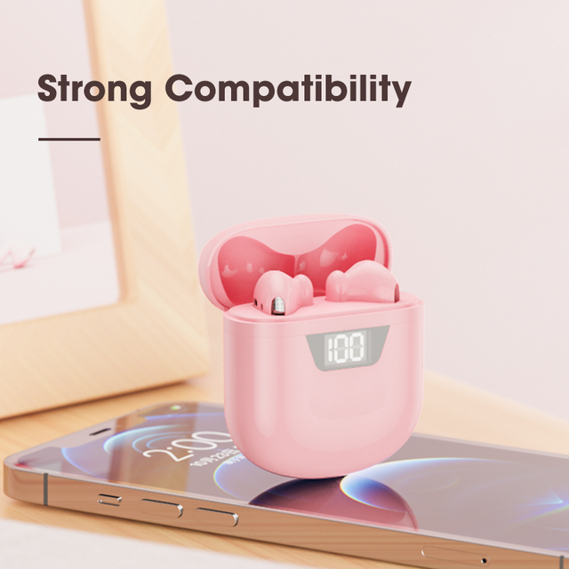 Pink Headphones Wireless Bluetooth Earphone Handsfree Stereo Sound Earbuds With Microphone TWS Gamming Headset PK i7 i12 i9000 3