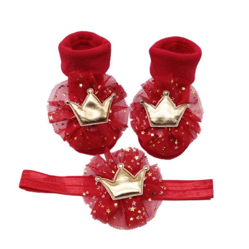 Infant Baby Big Velvet Stretch Hair Band Crown Flower Soft Non Slip Cotton Socks