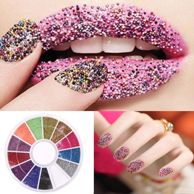 Manicure Beads Round Diamond Box Nail Ornament 12 Color Colorful Beads Rubber Beads Sequin Nail Polish Stickers Direct Selling W