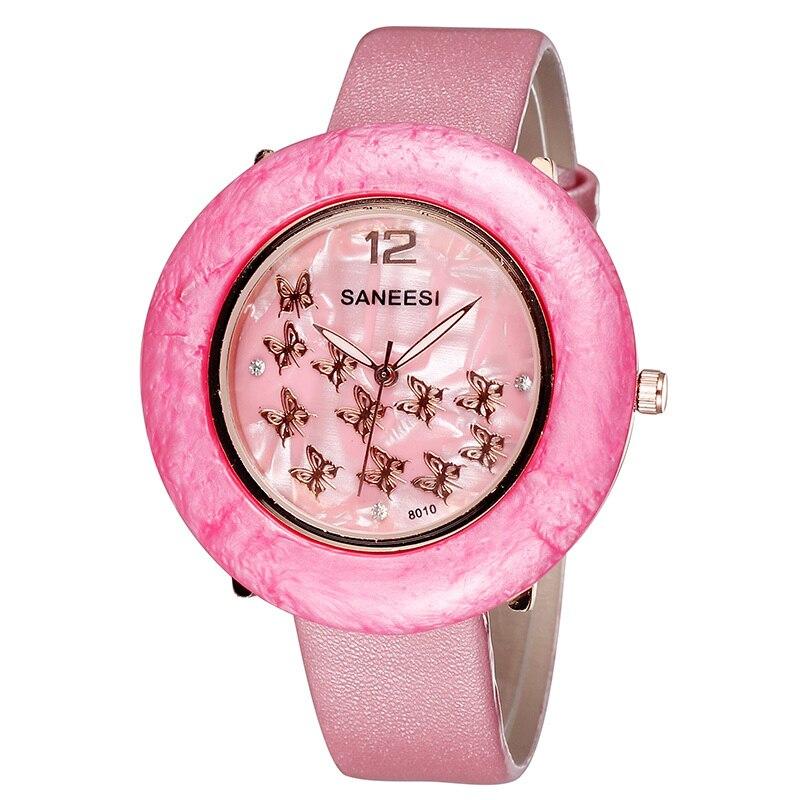 Fashion Watch Women SANEESI Brand Quartz PU Leather Straps Casual Watch Ladies Wristwatches