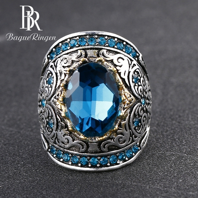 Bague Ringen 925 Silver Jewelry Vintage Rings For Women Men 10x14mm Aquamarine Gemstone Ring Anniversary Fine Jewlery Gifts