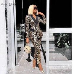 Женский комплект из блейзера и брюк, зимний комплект из 2 предметов с длинными рукавами, расшитый пайетками Леопардовый пиджак, сексуальный ...