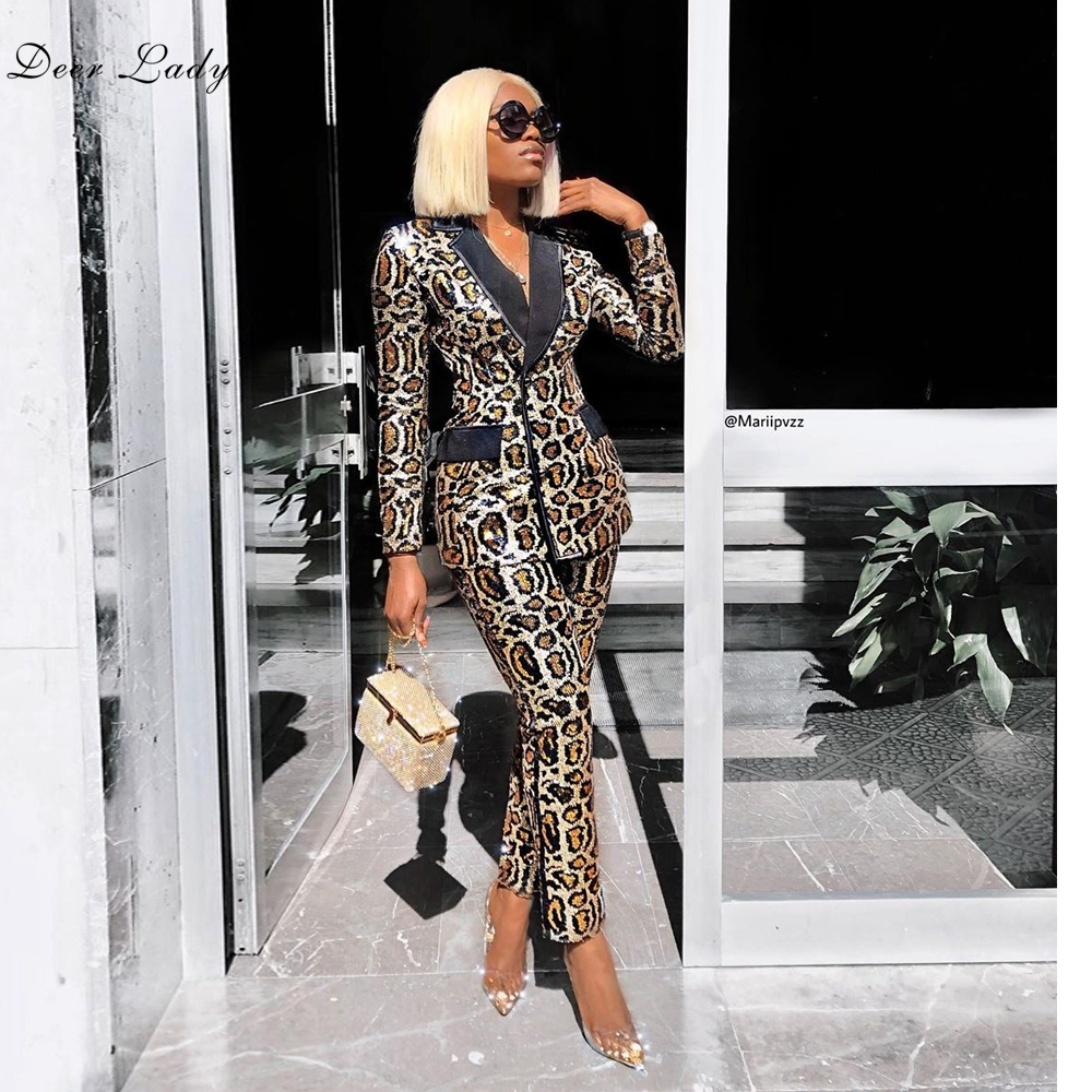 Blazer And Pants Set For Women 2019 Winter Long Sleeve 2 Piece Set Sequined Suit Leopard Jacket Sexy Business Suits Ladies