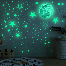 30cm Moon 435pcs Stars Dots Green Luminous Wall Sticker Children Room Ceiling Stairs Decoration Fluorescent Mural Decals