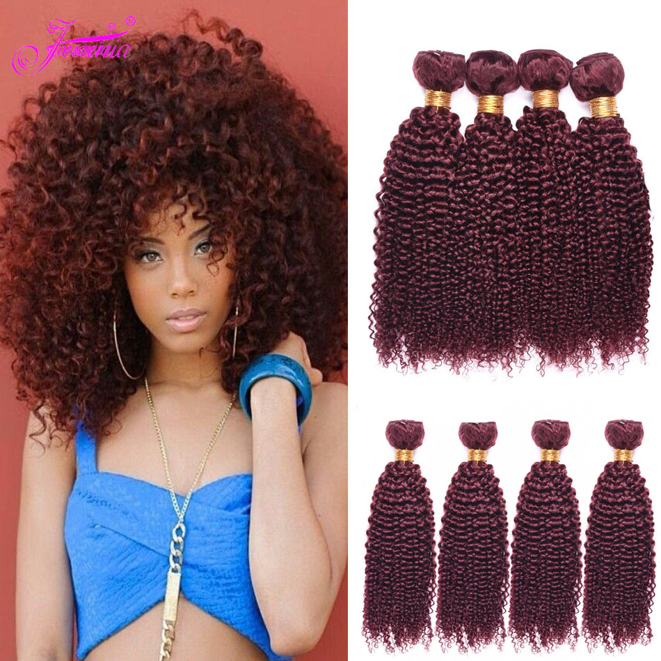 Jesssenia Pre-colored #99j 4 Bundles Malaysian Kinky Curly Hair Burgundy Human Hair Weave Remy Afro Kinky Curly Hair Bundles
