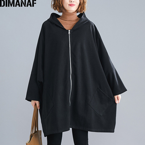 Image 2 - DIMANAF Oversize Women Jacket Coat Autumn Winter Outerwear Zipper Cardigan Vintage Batwing Sleeve Loose Plus Size Hooded Clothes