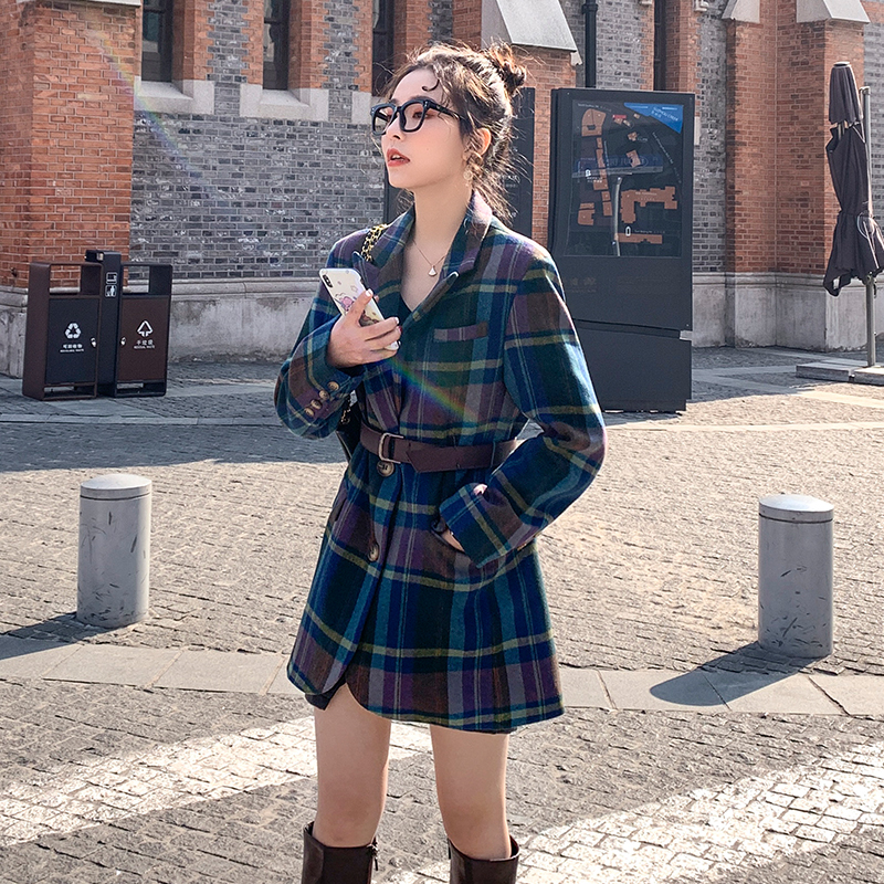 Plaid Blazer 2020 Women Spring-Autumn Vintage Tweed Suits Jackets Office Ladies Chic Slim Blazers Girls Tassel Tops Set Coat