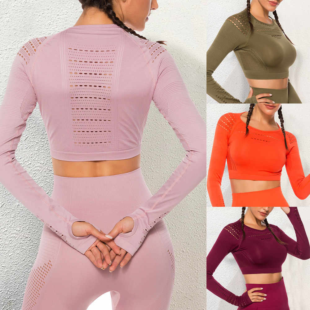 Flawless Knit Naadloze Yoga Top Fitness Lange Mouwen Vrouwen Shirts Workout Gym Crop Top Ademend Sport Shirt Vrouwen Drop Shipping