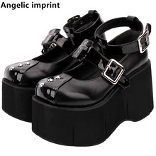 Pumps Women Party-Shoes Angelic Imprint Sole Lolita Dress Wedges High-Heels Mori Cosplay