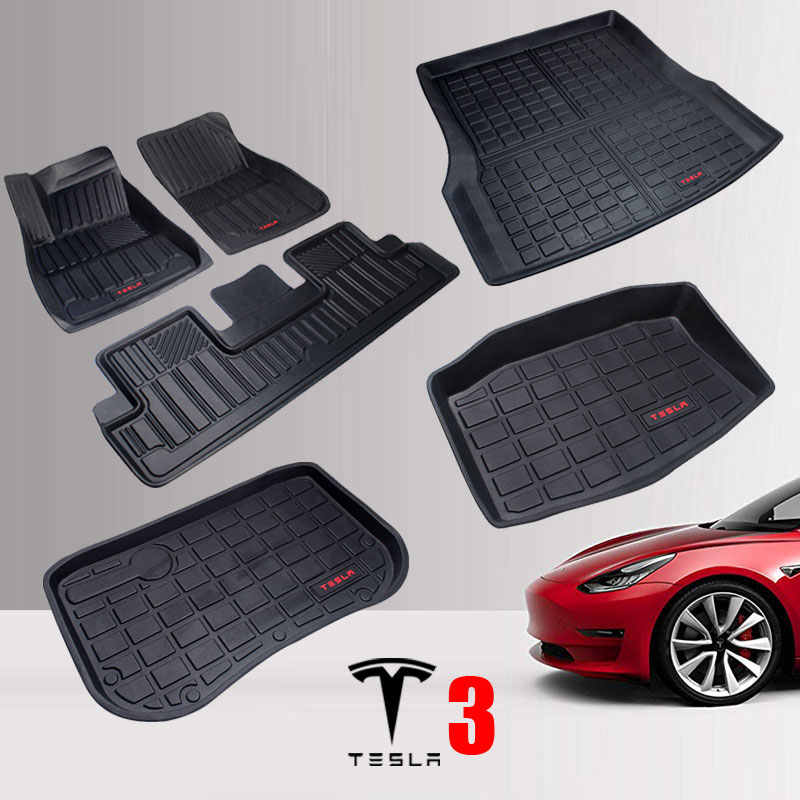 TPE Tesla Model 3 Vloermatten Set All Weather Antislip Zware Rubber 2017 2018 2019 Driver, passagiers-en Achterbank Mat