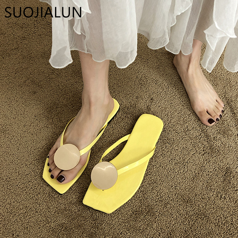 SUOJIALUN 2020 Summer Women Slippers Fashion Metal Buckle Ladies Flat Sandals Woman Casual Outside Flip Flop Beach Slides Shoes
