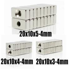 5 ~ 200 PCs 20x10x3 20x10x4 20x10x5 hole 4 N35 heavy duty block countersunk magnets Rare Earth Permanent Magnet 20*10*3-4