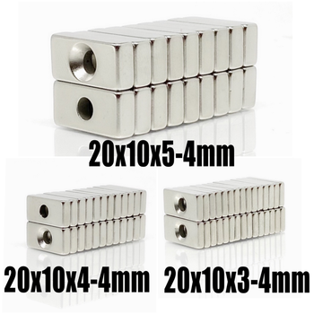 5 ~ 200 PCs 20x10x3 20x10x4 20x10x5 hole 4 N35 heavy duty block countersunk magnets Rare Earth Permanent Magnet 20*10*3-4