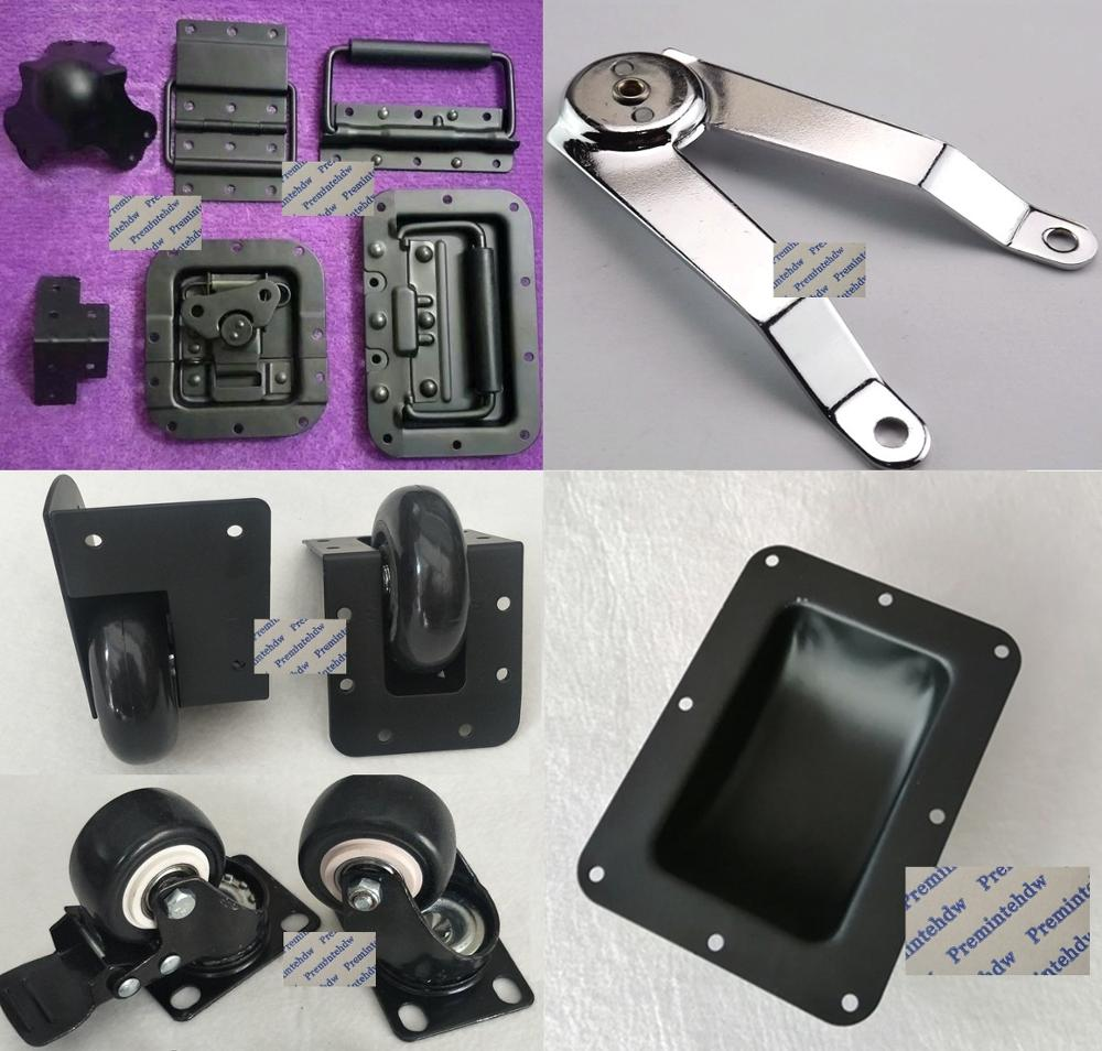 2Pcs/Lot Black Road Flight Audio Case Recessed Butterfly Hasp Latch Hinge Corner Brace Spring Pull Caster Hardware Kit