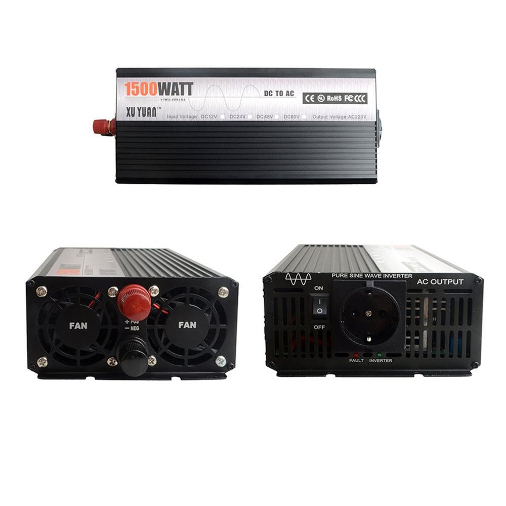 Piek 5000W 12 V 220 V Auto Power Inverter Converter Charger Adapter Zuivere Sinus met EU Plug intelligente bescherming - 2
