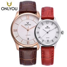 ONLYOU Watches for lover AUTO Date Self-Winding Analog Brown Leather Man Wristwatch Leisure Lovers Watches 6005