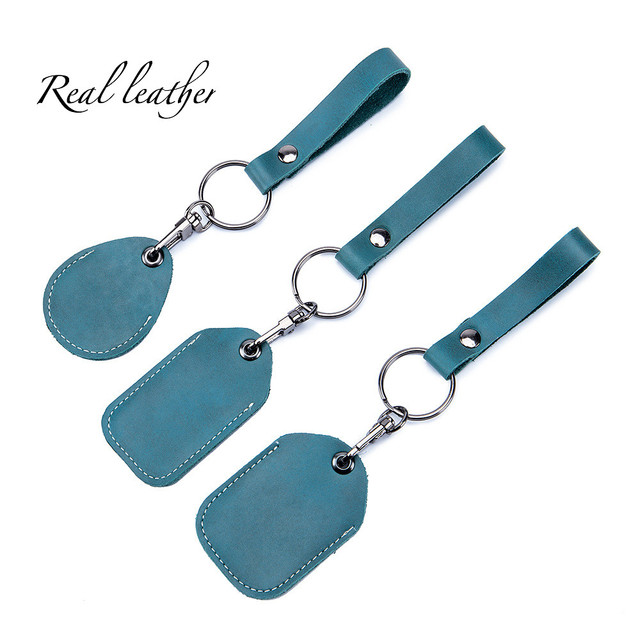 Cowhide Genuine Leather Access Card Cover Keychain Pocket for Car Keys Wallet Clip Ring Women Men Handmade Accessories DIY Gift 1