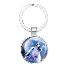 Popular New Wolf Totem Keychains Cute Time Gem Cabochon Moon Sky Metal Car Key Chain Boy Bag Pendant Keyring Lovers Gifts new sunflower time precious stone metal keychain cute flower glass cabochon car key chain bag pendant keyring kids gift