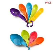 цена на 9pcs Colorful Kitchen Measuring Spoon Cup Coffee Sugar Flour Teaspoon with Scale