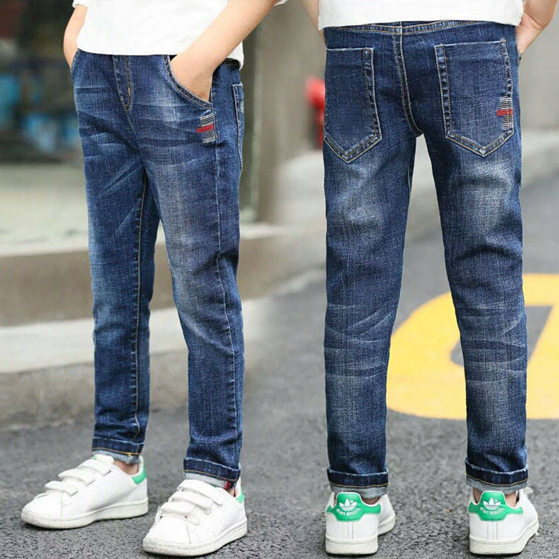 Autumn Spring Baby Boys Jeans Pants Kids Clothes Cotton Casual Children Trousers Teenager Denim Boys Clothes 4 14Year|Jeans| |  - title=