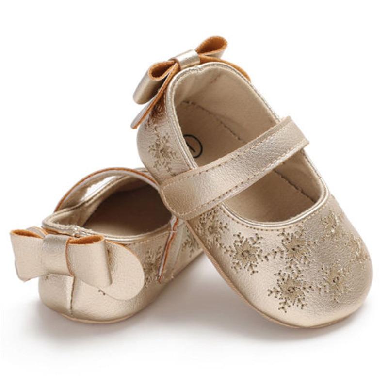 Cute Newborn Infant Baby Girls Toddler Kids Shoes Soft Sole Anti-slip PU Leather Prewalker 0-18M Crib Shoes